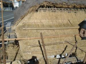茅葺き屋根の茅を敷く