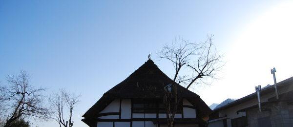 茅葺き屋根の上にいる神様